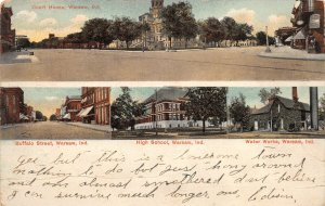 F60/ Warsaw Indiana Postcard 1909 4View High School Water Works