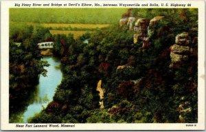 1930s Rolla, Missouri ROUTE 66 Postcard Big Piney River & Bridge Devil's Elbow