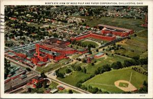 Chillicothe Ohio~Mead Pulp & Paper Factory~Baseball Diamond~1936 Linen Postcard