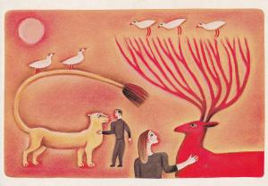 Grizellda Holderness Animal Fantasy Painting Postcard