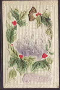 Merry Christmas,Holly,Bell,Scene Postcard