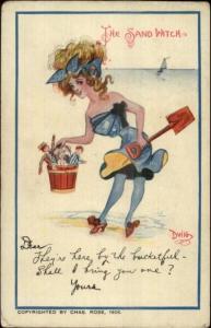 DWIG - Beautiful Woman Bathing Beauty Sand Pail & Toys SAND WITCH Postcard