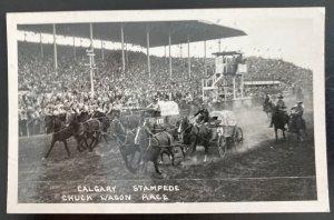 Mint Canada RPPC Postcard Calgary Stampede Chuck Wagon Race