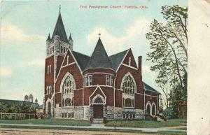 Fostoria Ohio~Corner Turret~Belltower @ First Presbyterian Church~1910 Postcard
