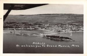 Grand Marais Minnesota~Nobles Welcomes You~Airplane View Harbor~1940s RPPC