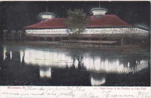 Illinois Bloomington Night Scene Of The Pavilion At Lake Park 1907 Curteich