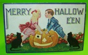 Vintage Halloween Postcard International Art 1908 Two Black Cats Portland Maine