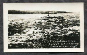 dc556 - CORNWALL Ontario 1920s Steamer Shooting Rapids Real Photo Postcard
