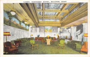 A24/ MONTANA Mt Postcard c1910 BILLINGS Northern Hotel INTERIOR Lobby