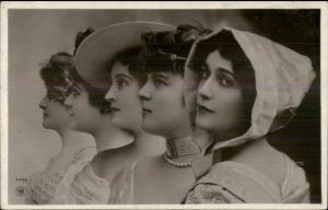 Beautiful Women Hats & Hair Pieces Fine Photography Real Photo Postcard c1910