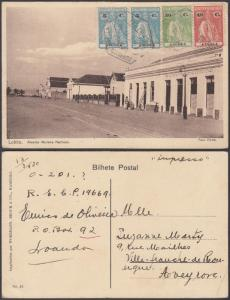 Angola 1918 Used stamps on postcard ( Lobito ) to Aveyron