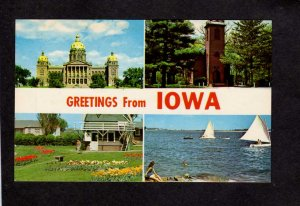 IA Greetings From Iowa State Capitol Little Brown Church Tulips Postcard