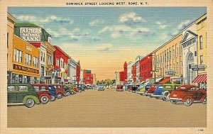 ROME NEW YORK~DOMINICK STREET WEST-STOREFRONTS-BANK-WOOLWORTH POSTCARD
