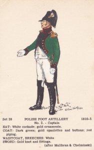 Polish Foot Artillery Captain Uniform Military Napoleonic War Postcard