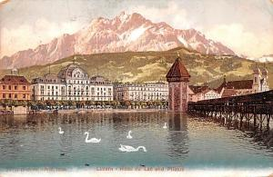 Switzerland Old Vintage Antique Post Card Luzern Hotel du Lac und Pilatus 1907