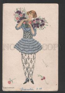 119265 BELLE Lady w/ Flowers by MELA KOEHLER Vintage PC