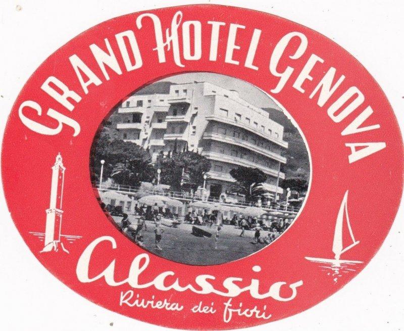 Italy Alassio Grand Hotel Genova Vintage Luggage Label sk1042