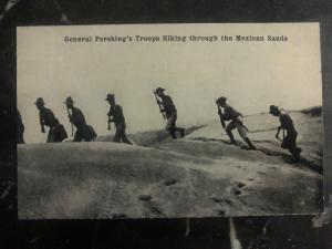 Mint USA RPPC Postcard General Pershings Troops Hiking The Mexican Sands