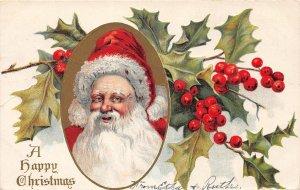 F42/ Santa Claus Merry Christmas Postcard c1910 Long Beard Holly 10