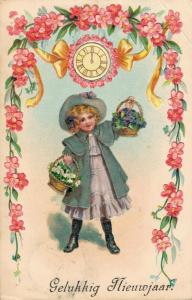 Happy New Year Girl with flower baskets 02.89