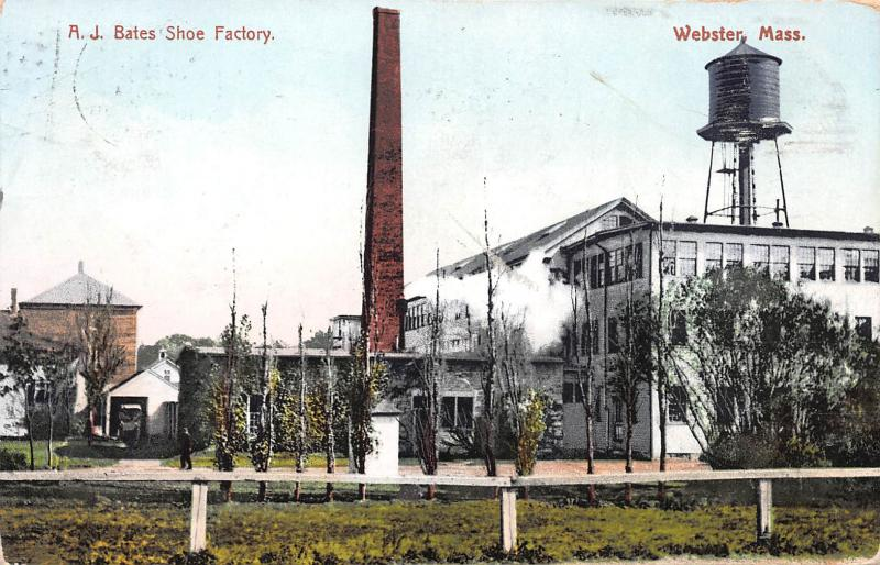A. J. Bates Shoe Factory, Webster, Massachusetts, Early Postcard, used in 1909