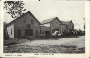 West Falmouth ME Street Scene c1905 Postcard