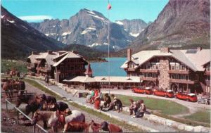 postcard MT Many Glacier Hotel, Alpine Resort, Swift-current Lake, Mt. Gould