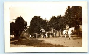 American Small Town Parade USA Marching Band US Flag Horse Photo Postcard D15