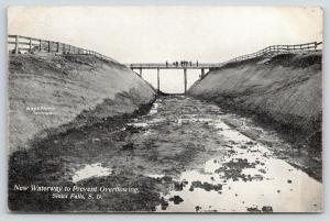 Sioux Falls SD 8 or 10 Men Stand on Bridge Eyeing New Waterway Runoff Site~c1910