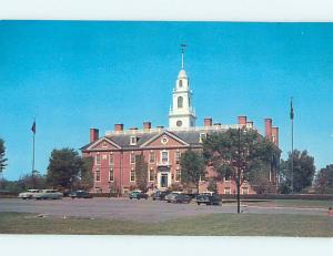 Unused 1950's OLD CARS & NEW STATE HOUSE Dover Delaware DE Q0234