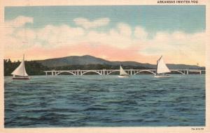 Arkansas Invites You, AR, Water, Bridge & Sailboats, 1938 Linen Postcard f9737