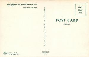 Sarasota FL~John Ringling Residence~East Facade Thru Trees 1960s Postcard