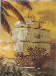 3D Postcard , 50-70s ; Sailing Ship #2
