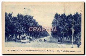 Marseille - roundabout and Promebade Prado - tram - Old Postcard