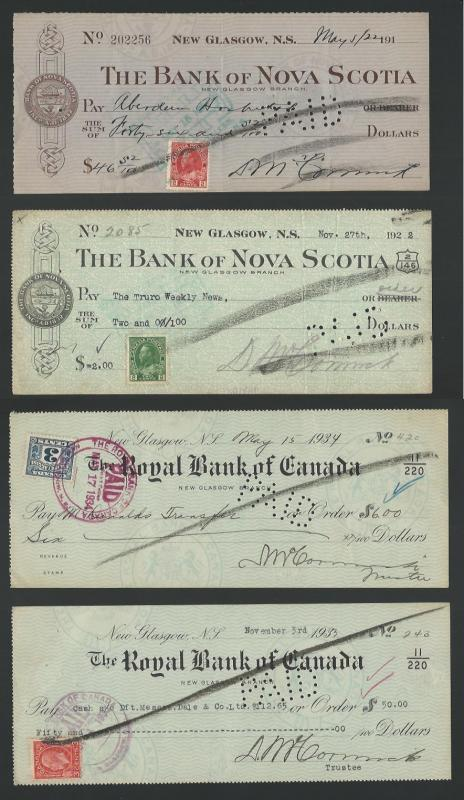 Canada 1920s/1930s Bank Checks Group with Stamps affixed. Good condition