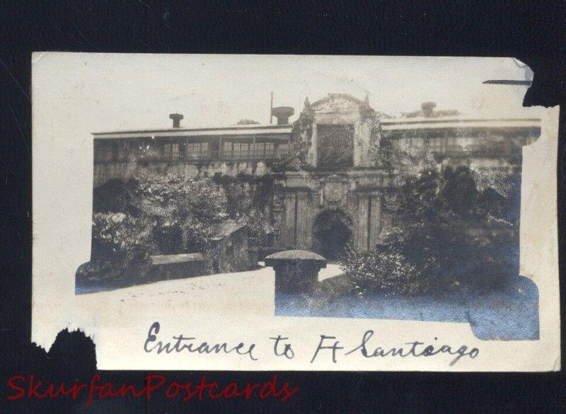 ENTRANCE TO FORT FT. SANTIAGO THE PHILIPPINES WWI ERA REAL PHOTO PHOTOGRAPH