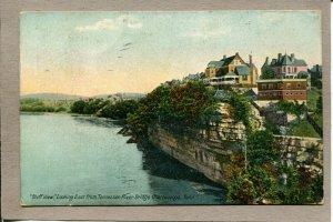 Postcard TN Chattanooga Tennessee River Bridge Bluff View c1910 2514N