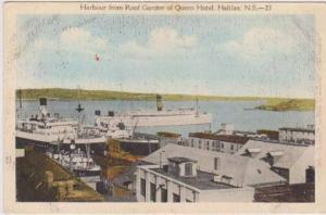 View of Steamships in Harbour from Roof Garden of Queen Hotel, Halifax, Nova ...