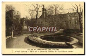 Old Postcard Church and Carmelite Seminary Central Basin and Stele of the fir...