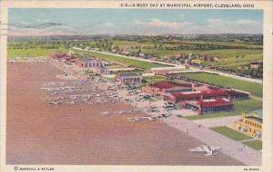 Ohio Cleveland A Busy Day At Municipal Airport 1950