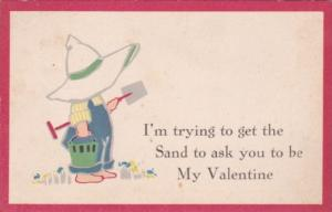 Valentine's Day Young Boy With Sun Bonnet Shovel and Bucket 1917