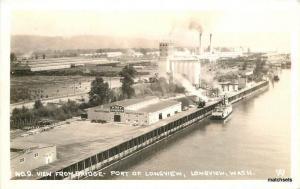 1940s View Bridge Port Longview Washington RPPC Real photo postcard 8809