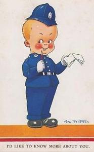 Vera Paterson Police Policeman Traffic Warden + Book Comic Hunour Postcard