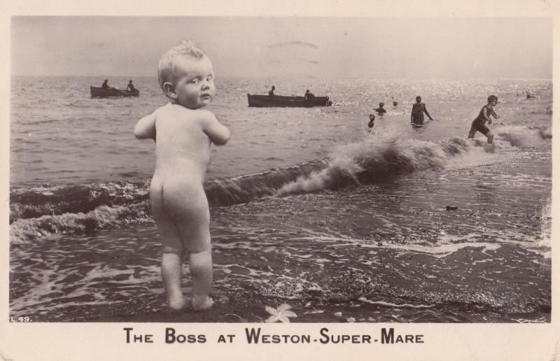 Child At Blackpool Giggling Real Photo Greetings Postcard