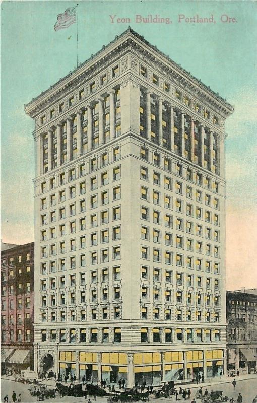 Portland Oregon~Yeon Building~Shops~Auto & Wagon Traffic~Crowd~1910