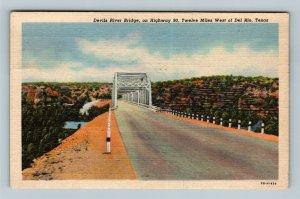 Del Rio TX, Devils River Bridge, Linen Texas c1948 Postcard