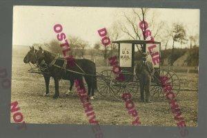 RPPC 1908 RFD MAIL WAGON Mailman Buggy CHRISTMAS CARD USPS Postman US MAIL