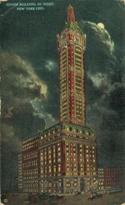 USA Singer Building By Night New York City Unposted 03.64