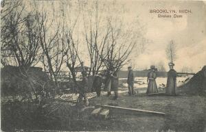Brooklyn Michigan~Victorian Ladies & Gents At Broken Dam~1908 Postcard~PCK