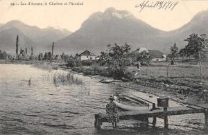Haute Savoie France birds eye view Lake Annecy boat pier antique pc Y12063